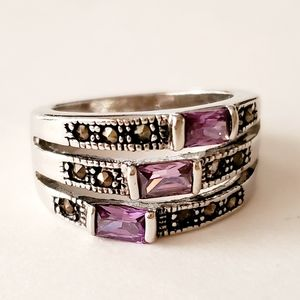 Silver Amethyst Purple Stacked Ring